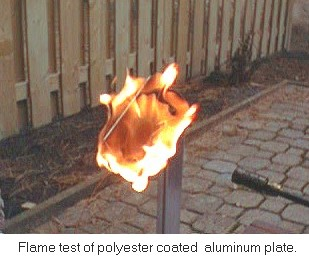 Polyester flame test